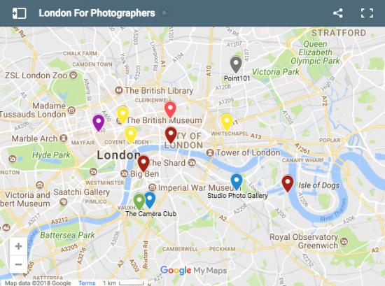 Photographers Map Of London